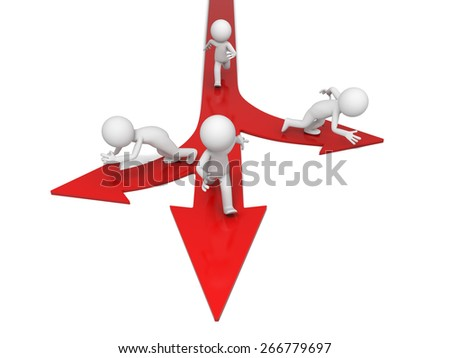 choice/3d people on directional signs. 3d image. Isolated white background