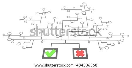 Choice mark box link network, 3d illustration, isolated, horizontal