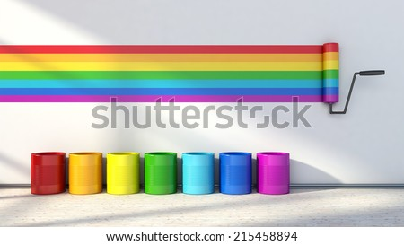 choice of colors for painting a room. colors of the rainbow - stock photo