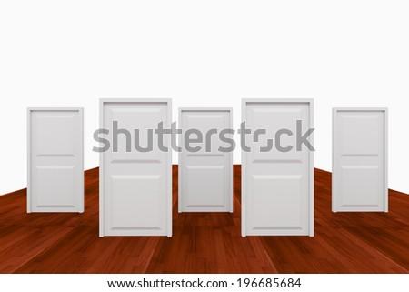 Choice with five door on wood floor - stock photo