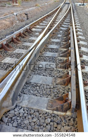 Choices concept on railway split - stock photo