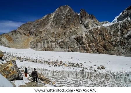 Chola Pass, Himalayas, Nepal - stock photo
