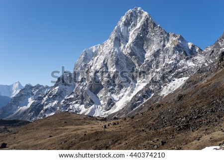 Cholatse mountain peak in the morning, Everest region