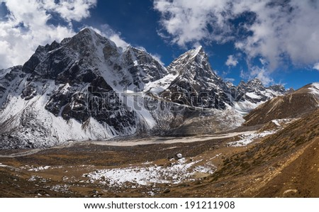 Cholatse peak and Pheriche Valley in Himalayas.