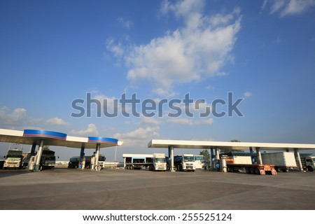 Cholburi, THAILAND - Feb 25:Truck wait for refill natural gas at PTT Gas Station on Feb 25,15  Thailand. Thai's government make decision increase gas prices for transportation reflect the real costs