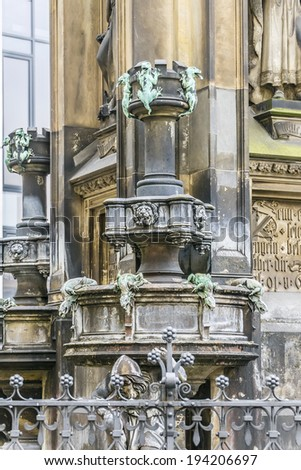 Cholerabrunnen (Cholera Fountain, architect Gottfried Semper, 1846) is a neo-Gothic fountain. He stands in Dresden on Sophie Street. Germany.