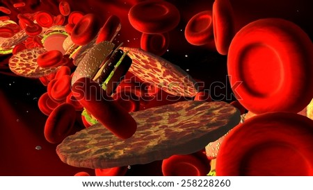 Cholesterol blocked artery, medical concept with a human blood vessel clogged by unhealthy eating fat food as hamburgers and fried foods, as a health risk for obesity or dieting and nutrition problems - stock photo