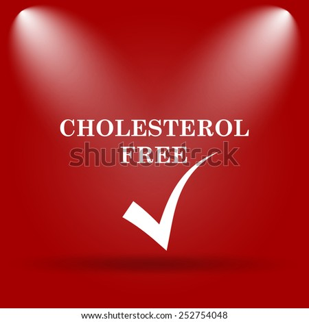 Cholesterol free icon. Flat icon on red background.