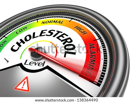 cholesterol level conceptual meter, isolated on white background - stock photo