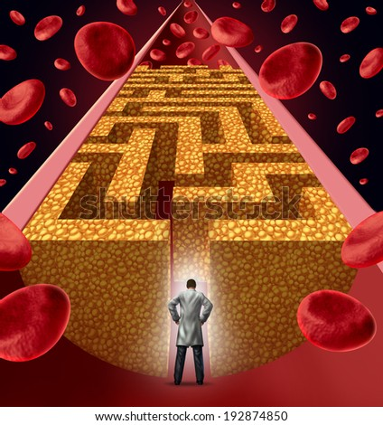 Cholesterol treatment by a heart surgeon doctor facing a clogged artery and atherosclerosis disease medical concept with an artery with blood cells that is blocked by plaque buildup shaped as a maze. - stock photo