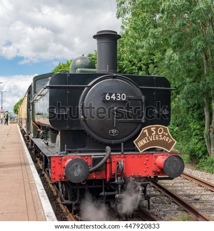 Cholsey/UK. July 3rd 2016. Steam Engine 6430 on the Cholsey & Wallingford railway in Oxfordshire.