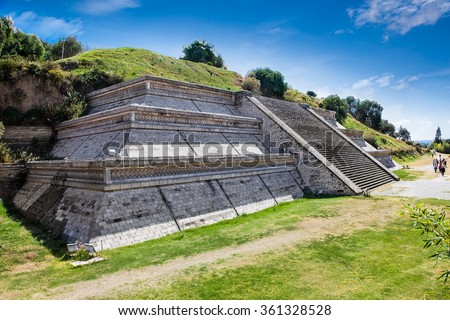 Cholula Pyramid, archaeological site in Puebla, Mexico.  - stock photo