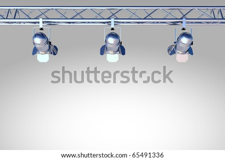 chome, silver stage lights - stock photo