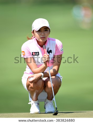 CHON BURI, THAILAND - FEBRUARY 25: Bo-Mee Lee of South Korea in action during the 2016 Honda LPGA Thailand at Siam Country Club  2016 on February 25, 2016 in Chon Buri, Thailand - stock photo