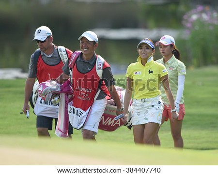 CHON BURI, THAILAND - FEBRUARY 26: Bo-Mee Lee of South Korea in action during the 2016 Honda LPGA Thailand at Siam Country Club  2016 on February 26, 2016 in Chon Buri, Thailand - stock photo