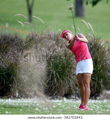 CHON BURI, THAILAND - FEBRUARY 27: Lexi Thompson of USA in action during the 2016 Honda LPGA Thailand at Siam Country Club  2016 on February 27, 2016 in Chon Buri, Thailand