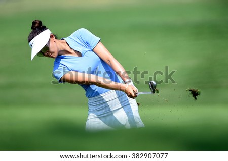 CHON BURI, THAILAND - FEBRUARY 27: Michelle Wie of USA in action during the 2016 Honda LPGA Thailand at Siam Country Club  2016 on February 27, 2016 in Chon Buri, Thailand