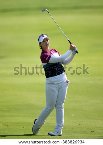 CHON BURI, THAILAND - FEBRUARY 25: Q Beck of South Korea in action during the 2016 Honda LPGA Thailand at Siam Country Club  2016 on February 25, 2016 in Chon Buri, Thailand