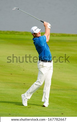 CHONBURI - DECEMBER 15 : Justin Rose of England player in Thailand Golf Championship 2013 at Amata Spring Country Club on December 15, 2013 in Chonburi, Thailand.