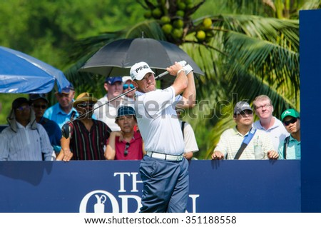 CHONBURI - DECEMBER 10 : Lee Westwood of England player in Thailand Golf Championship 2015 (Tournament on the Asian Tour) at Amata Spring Country Club on December 10, 2015 in Chonburi, Thailand. - stock photo