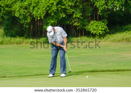 CHONBURI - DECEMBER 10 : Lee Westwood of England player in Thailand Golf Championship 2015 at Amata Spring Country Club on December 10, 2015 in Chonburi, Thailand. - stock photo