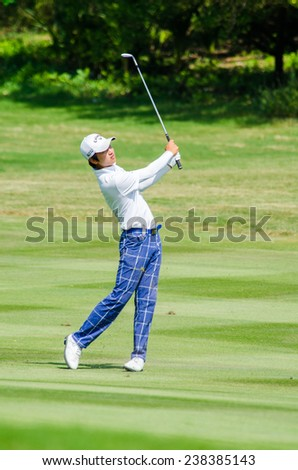 CHONBURI - DECEMBER 14 : Wang Jeung-hun of South Korea player in Thailand Golf Championship 2014 (Tournament on the Asian Tour) at Amata Spring Country Club on December 14, 2014 in Chonburi, Thailand.
