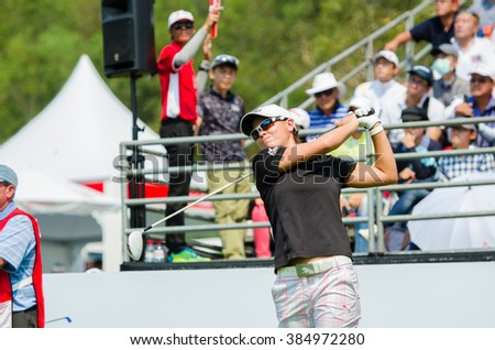 CHONBURI - FEBRUARY 28 : Lee_Anne Pace of South Africa in Honda LPGA Thailand 2016 at Siam Country Club, Pattaya Old Course on February 28, 2016 in Chonburi, Thailand. - stock photo