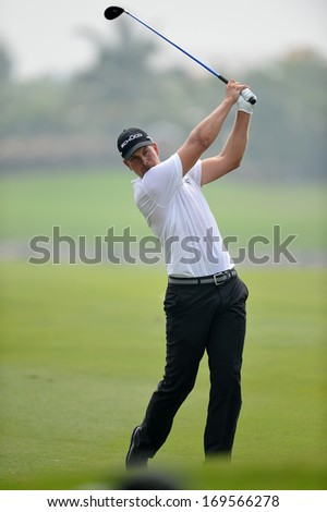 CHONBURI,THA-DEC 15: Henrik Stenson in action during Asia Tour Thailand Golf Championship 2013 at Amata Spring Country Club on December 15, 2013 in Chonburi, Thailand.