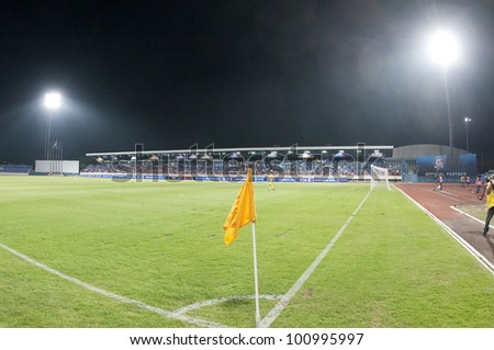 CHONBURI THAILAND - APRIL 24 : Chonburi Stadium before the geam during AFC CUP 2012 between Chonburi F.C. (blue) VS Yangon United (white) at Chonburi stadium on April 24,2012 in Chonburi,Thailand.