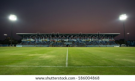 CHONBURI THAILAND- APRIL 6:Chonburi Stadium in Thai Premier League (TPL) between Chonburi Fc(blue) vs Chiangrai United(orange) on April 6, 2014  at Chonburi Stadium in Chonburi Thailand