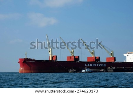 CHONBURI, THAILAND - CIRCA APRIL 2015 - Cargo ship in Thai sea