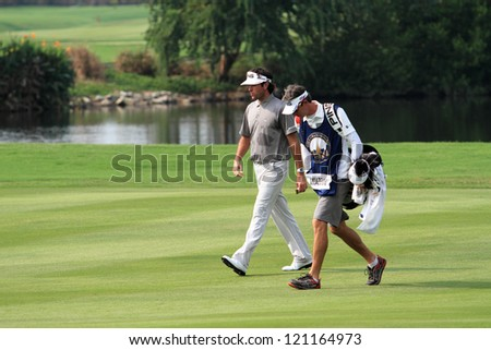 CHONBURI,THAILAND - DECEMBER 7:Bubba Watson play golf during day two of the Thailand Golf Championship at Amata Spring Country Club on December 7, 2012 in Chonburi province, Thailand.
