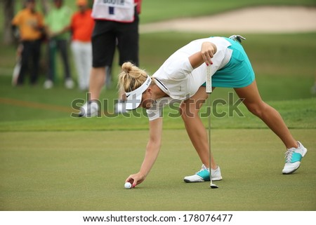 Chonburi, Thailand - FEB 21:Carly Booth of Scotland participate in a Honda LPGA Thailand 2014 at Siam Country Club Pattaya Old Course on February 21, 2014 in Chonburi, Thailand.