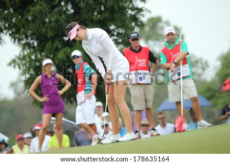 Chonburi, Thailand - FEB 22:Sandra Gal of Germany participate in a Honda LPGA Thailand 2014 at Siam Country Club Pattaya Old Course on February 22, 2014 in Chonburi, Thailand.