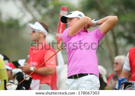Chonburi, Thailand - FEB 21:Stacy Lewis of USA participate in a Honda LPGA Thailand 2014 at Siam Country Club Pattaya Old Course on February 21, 2014 in Chonburi, Thailand.