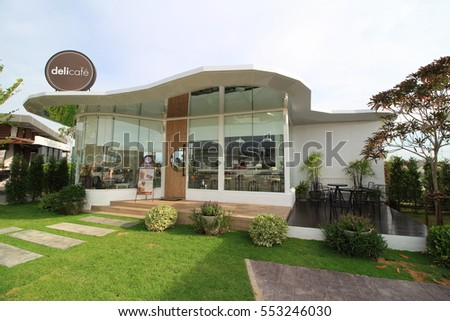 Chonburi , Thailand - January 6, 2017: The name delicafe of the Coffee shop at Bowin District of Chonburi province in Thailand is Landmark for traveler take a photo