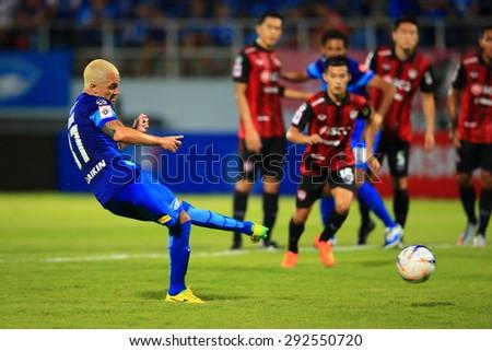 CHONBURI THAILAND - JUNE 25 : Thiago D. S. Cunha (37) of Chonburi F.C. in action during Thai Premier League, Chonburi F.C. and Muangthong utd. at Chonburi Stadium on Jun 25, 2015 in Thailand. - stock photo