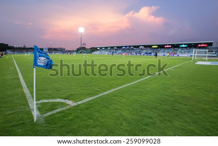 CHONBURI THAILAND-MARCH 8:Chonburi Stadiam in Thai Premier League (TPL) between Chonburi FC(blue) vs BEC-Tero Sasana(white) on March 8, 2015 at Chonburi Stadiam in Chonburi Thailand - stock photo