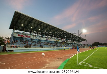 CHONBURI THAILAND-MARCH 8:Chonburi Stadiam in Thai Premier League (TPL) between Chonburi FC(blue) vs BEC-Tero Sasana(white) on March 8, 2015 at Chonburi Stadiam in Chonburi Thailand