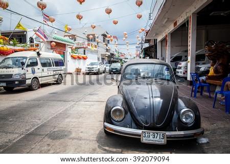 CHONBURI , THAILAND - MARCH 12 , 2016 : Volkswagen Beetle park in chinatown in CHONBURI THAILAND - stock photo