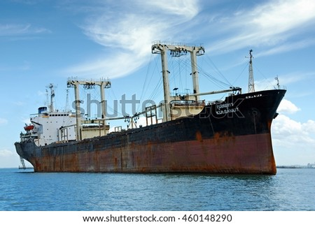 chonburi,Thailand. MAY 6:2016.Cargo ship at Koh Sichang island Port.
