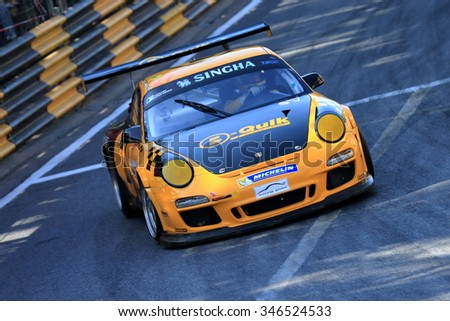 CHONBURI, THAILAND - NOVEMBER 28 : Daniel A. Bliski Kiks no.27 Porsche's driver in Bangsaen Speed Festival 2015, Round 7-8 of the Thailand Super Series 2015, at the Bangsaen Street Circuit Chon Buri.