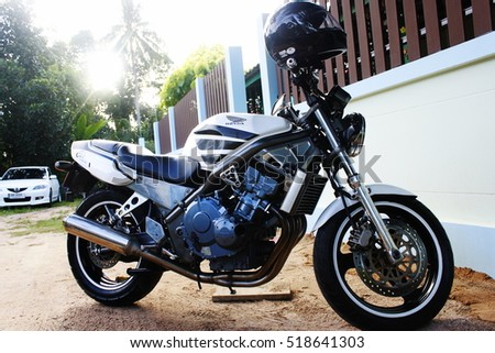 CHONBURI, THAILAND - November 20 2016 : White motorcycle brand Honda CB1 400CC at the home Chonburi in Thailand