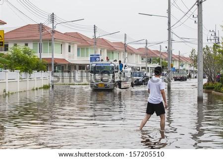 CHONBURI, THAILAND - OCT 6: Sailomchomview town  Oct 6, 2013 in Chonburi, Thailand. Thai Flood 2013 - stock photo