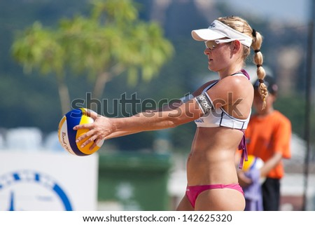 CHONBURI, THAILAND-OCTOBER 25: Karolina Rehackova of Czech Republic prepares to serve during Day 2 of Bangsaen Thailand Open on October 25, 2012 at Bangsaen Beach in Chonburi, Thailand
