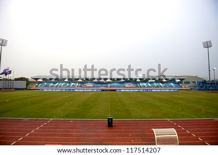 CHONBURI,THAILAND-OCTOBER 23:View of Chonburi stadium   rain before the match the AFC CUP  between Chonburi F.C.and Arbil S.C.(IRQ) at Chonburi Stadium on Oct 23,2012 in Thailand