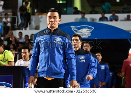 CHONBURI THAILAND-SEP27 :Sinthaweechai  of Chonburi F.C.in action during Thai Premier League 2015 between Chonburi F.C. and Suphanburi F.C.at ChonBuri Stadium on September 27,2015 in Thailand - stock photo