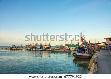 Chonburi Thailand -  September 25, 2015:Thai Fishing Boat At The Jetty.