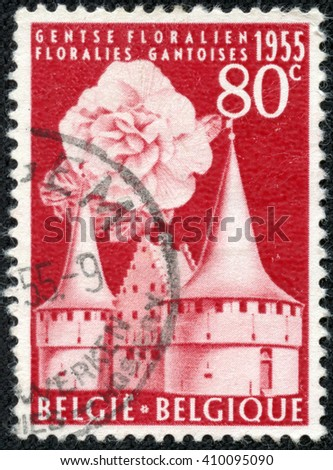 CHONGQING, CHINA - April 26, 2014:a stamp printed by Belgium, shows The Rabot and Begonia, circa 1955 - stock photo