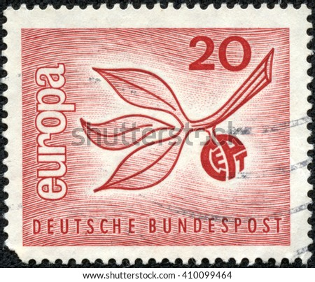 CHONGQING, CHINA - April 25, 2014:A stamp printed in German Federal Republic shows Europa, Sprig, circa 1965 - stock photo